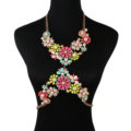 Luxury Pearls Flower Pendant Bib Necklace Bikini Beach Dress Decro Body Chain Jewelry - Multicolour