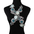 Luxury Rhinestone Flower Pendant Bib Necklace Bikini Beach Dress Decro Body Chain Jewelry - Blue