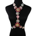 Luxury Rhinestone Flower Pendant Bib Necklace Bikini Beach Dress Decro Body Chain Jewelry - Colour