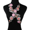 Luxury Rhinestone Flower Pendant Bib Necklace Bikini Beach Dress Decro Body Chain Jewelry - Pink