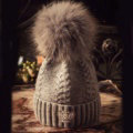 Luxury Women Diamond Crown Knitted Wool Hats Winter Large Fox Fur Pom Poms Caps - Deep Grey