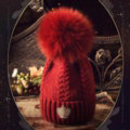 Luxury Women Diamond Crown Knitted Wool Hats Winter Large Fox Fur Pom Poms Caps - Deep Red