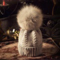 Luxury Women Diamond Crown Knitted Wool Hats Winter Large Fox Fur Pom Poms Caps - Grey