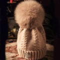 Luxury Women Diamond Crown Knitted Wool Hats Winter Large Fox Fur Pom Poms Caps - Pink Camel
