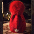 Luxury Women Diamond Crown Knitted Wool Hats Winter Large Fox Fur Pom Poms Caps - Red