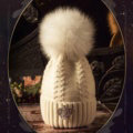 Luxury Women Diamond Crown Knitted Wool Hats Winter Large Fox Fur Pom Poms Caps - White