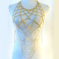 Multilayer Rhinestone Body Chain Punk Dinner Party Long Mesh Necklace Jewelry - Gold