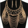 Multilayer Rhinestone Body Chain Punk Dinner Party Long Tassel Necklace Jewelry - Gold