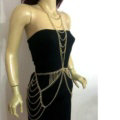 New Crossover Body Chain Alloy Necklaces & Pendants Sexy Dress Decro Jewelry - Gold