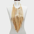 New Designer Long Tassel Choker Necklace Showgirl Punk Dress Decor Jewelry - Gold