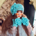 New Sweety Pearl Flower Knitted Wool Hats Girls Winter Warm Lace Beret Caps - Sky Blue