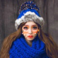 New Year Gift Rabbit Fur Pom Poms Knitted Wool Hats Winter Warm Beanies Caps - Blue