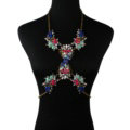 Newest Rhinestone Flower Pendant Necklace Bikini Beach Dress Decro Body Chain Jewelry - Colour