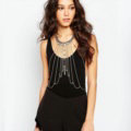 Personalized Body Chain Punk Dress Decro Gem Long Collar Necklace Jewelry - White