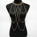 Personalized Body Chain Punk Dress Decro Pearl Long Collar Necklace Jewelry - Gold
