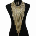 Personalized Metal Tassel Choker Chunky Necklace Punk Dress Decor Jewelry - Gold