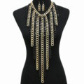 Personalized Metal Tassel Choker Chunky Necklace Punk Dress Decor Jewelry - Sliver Black