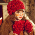 Princess Sweet Girls Knitted Wool Hats Winter Warm Curling Flower Pearl Caps Beret - Red