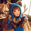 Retro Cat Ears Knitted Wool Caps Hats Women Long Rabbit Fur Ball Bib Hooded Scarf - Blue