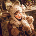 Retro Cat Ears Knitted Wool Caps Hats Women Long Rabbit Fur Ball Bib Hooded Scarf - Camel