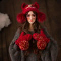 Retro Embroidered Horse Knitted Wool Beanies Caps Winter Warm Cat Ears Fur Ball Hats - Red