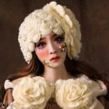 Retro Knitted Wool Hats Women Winter Warm Sweet Rabbit Fur Flower Pearl Beret Caps - Beige