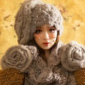 Retro Knitted Wool Hats Women Winter Warm Sweet Rabbit Fur Flower Pearl Beret Caps - Gray