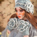 Retro Princess Beret Knitted Wool Hats Girls Winter Warm Lily Flower Pearl Caps - Gray