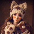 Retro Rabbit Fur Cat Ears Knitted Wool Hats Women Winter Warm Beanies Caps - Beige