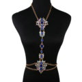 Sexy Crystal Flower Belly Body Chain Bikini Party Decro Pendant Necklace Jewelry - Blue