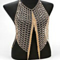 Sexy Full Body Chain Vest Slave Necklace Showgirl Halter Dress Decro Jewelry - Gold