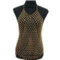 Sexy Mesh Full Body Chain Necklace Nightclub Showgirl Halter Bra Lingerie Jewelry - Gold