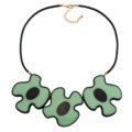 Simple Female Three Flowers Bib Necklace Sweater Chain Dress Decro Jewelry - Green