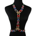 Simple Rhinestone Pendant Bib Necklace Bikini Beach Dress Decro Body Chain Jewelry - Colour