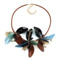 Top Fashion Women Flower Choker Necklace Sweater Chain Dress Decro Jewelry - Blue