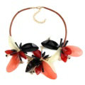 Top Fashion Women Flower Choker Necklace Sweater Chain Dress Decro Jewelry - Red