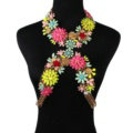 Unique Crystal Flower Pendant Necklace Bikini Beach Dress Decro Body Chain Jewelry - Colour