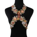 Unique Crystal Flower Pendant Necklace Bikini Beach Dress Decro Body Chain Jewelry - White