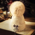 Unique Women Crystal Owls Knitted Wool Hats Winter Warm Fox Fur Pom Poms Caps - Beige