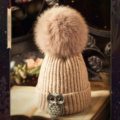 Unique Women Crystal Owls Knitted Wool Hats Winter Warm Fox Fur Pom Poms Caps - Camel