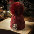 Unique Women Crystal Owls Knitted Wool Hats Winter Warm Fox Fur Pom Poms Caps - Red