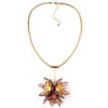 Unique Women Flowers Pendant Necklace Sweater Chain Dress Decro Jewelry - Pink