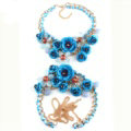 Women Trend Crystal Flower Pendant Necklace Bikini Beach Dress Decro Body Chain - Blue