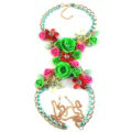 Women Trend Crystal Flower Pendant Necklace Bikini Beach Dress Decro Body Chain - Green