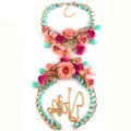 Women Trend Crystal Flower Pendant Necklace Bikini Beach Dress Decro Body Chain - Pink Blue