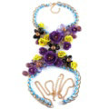Women Trend Crystal Flower Pendant Necklace Bikini Beach Dress Decro Body Chain - Purple Yellow