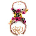 Women Trend Crystal Flower Pendant Necklace Bikini Beach Dress Decro Body Chain - Rose Yellow