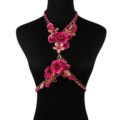 Women Trend Crystal Flower Pendant Necklace Bikini Beach Dress Decro Body Chain - Rose