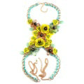 Women Trend Crystal Flower Pendant Necklace Bikini Beach Dress Decro Body Chain - Yellow