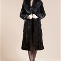 Big Wool Collar Cool Faux Mink Fur Overcoat Fashion Women Coat - Black